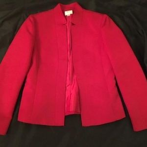 Tahari Red Mandarin Collar Jacket Size 6